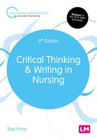 Critical Thinking and Writing in Nursing PDF