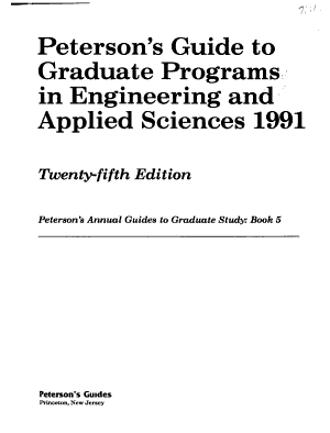 Peterson s Guide to Graduate Programs in Engineering and Applied Sciences 1991 PDF