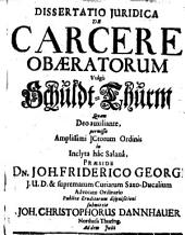 Diss. iur. de carcere obaeratorum, vulgo Schuldt-Thurm