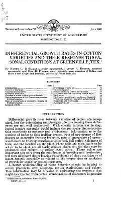Differential Growth Rates in Cotton Varieties and Their Response to Seasonal Conditions at Greenville  Tex
