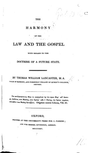 The Harmony of the Law and the Gospel with Regard to the Doctrine of a Future State