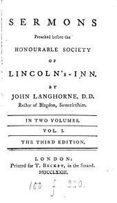 Sermons preached before the honourable society of Lincoln's-inn