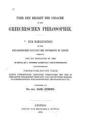Über den Begriff der Ursache in der griechischen Philosophie ...