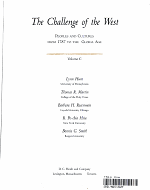 The Challenge of the West: Peoples and cultures from 1787 to the Global Age