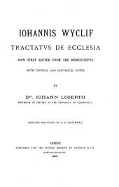Iohannis Wyclif Tractatus de ecclesia