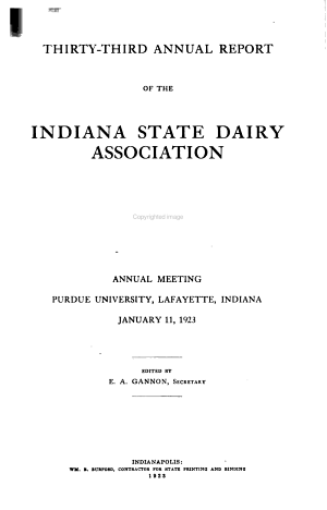 Annual Report of the Indiana State Dairy Association