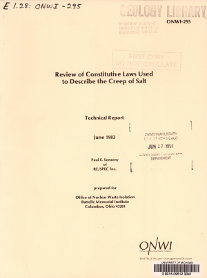 Review of Constitutive Laws Used to Describe the Creep of Salt