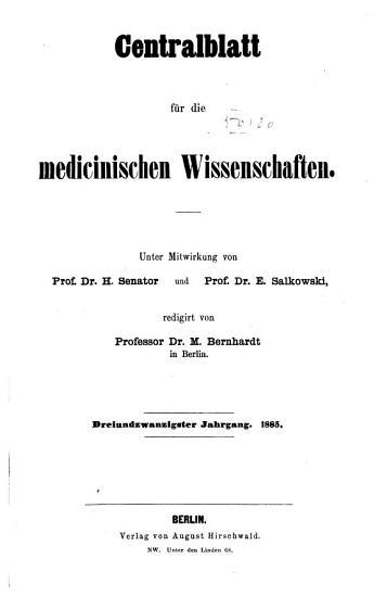 Centralblatt f  r die medicinischen Wissenschaften     PDF