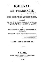 Journal de pharmacie et des sciences accessoires: Volume19