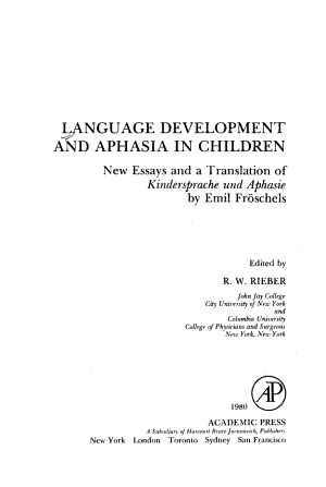 Language Development and Aphasia in Children