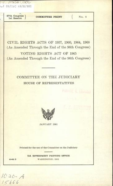Civil Rights Acts of 1957  1960  1964  1968  as Amended Through the End of the 96th Congress  PDF