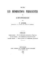 Sur les déformations permanentes et l'hysteresis: Parties1à7