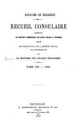 Recueil Consulaire Contenant les Rapports Commerciaux des Agents Belges à L'Étranger: Volume122