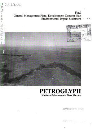 Petroglyph National Monument  General Management Plan  GMP  Development Concept Plan