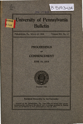 University of Pennsylvania Bulletin
