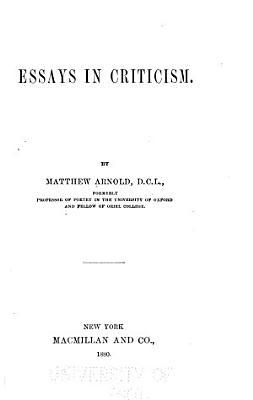 Essays in Criticism PDF