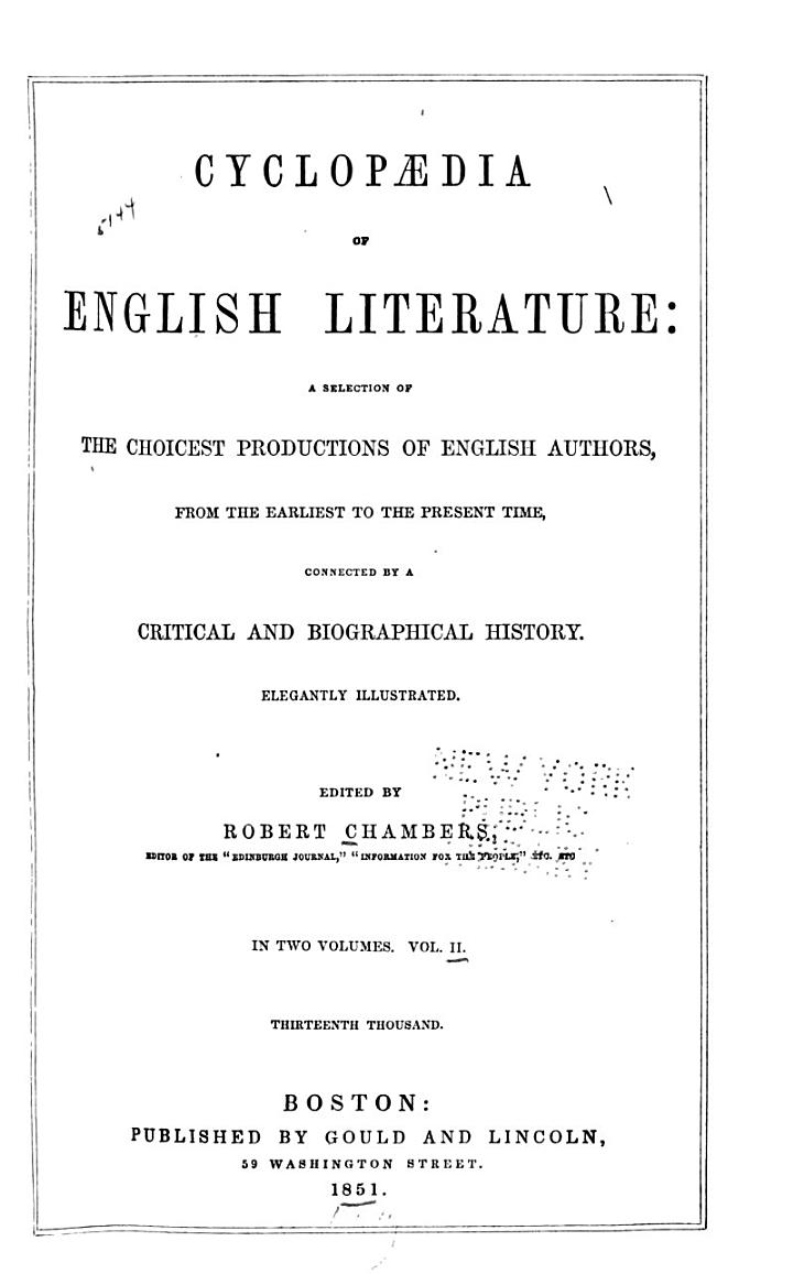 Cyclopedia of English Literature: a Selection of the Choicest Productions of English Authors