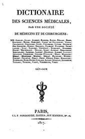 Dictionaire des sciences médicales: Gén - gom, Volume18