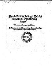 Elegantie maiores et rhetorica eiusdem ... utilissima (etc.)