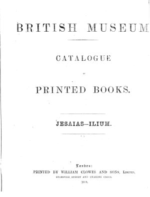 Catalogue of Printed Books PDF