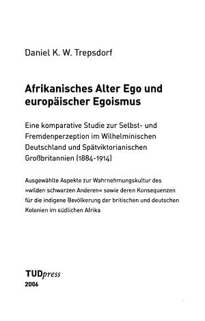 Afrikanisches Alter Ego und europ  ischer Egoismus PDF