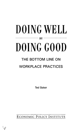 Doing Well by Doing Good PDF