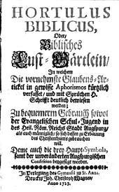 Hortulus biblicus: oder biblisches Lustgärtlein