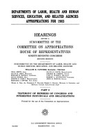 Departments of Labor  Health and Human Services  Education  and Related Agencies Appropriations for 1983  Testimony of members of Congress PDF