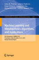 Machine Learning and Metaheuristics Algorithms  and Applications PDF