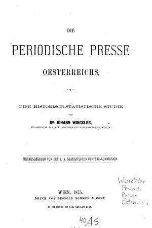 Die periodische Presse Oesterreichs0 PDF
