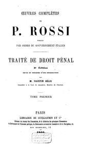 Traité de droit penal: Volume1