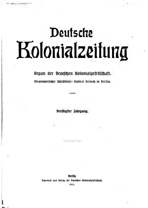 Deutsche Kolonialzeitung PDF
