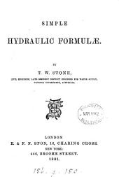 Simple hydraulic formulæ
