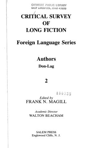 Critical Survey of Long Fiction