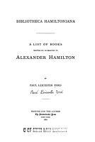 Bibliotheca Hamiltoniana PDF