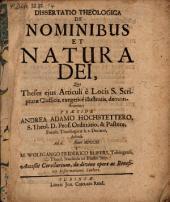 Diss. theol. de nominibus et natura Dei