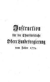 Instruktion für die Kurfürstliche Obere Landesregierung