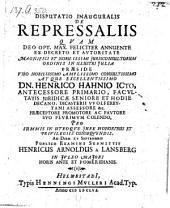 De repressaliis, resp. Henrico Arnoldo a Lansberg. - Helmestadii, Müller 1656