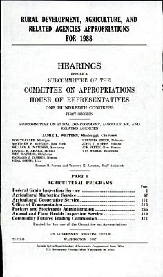 Rural development  agriculture  and related agencies appropriations for 1988