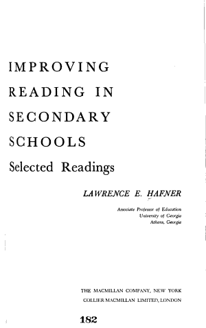 Improving Reading in Secondary Schools