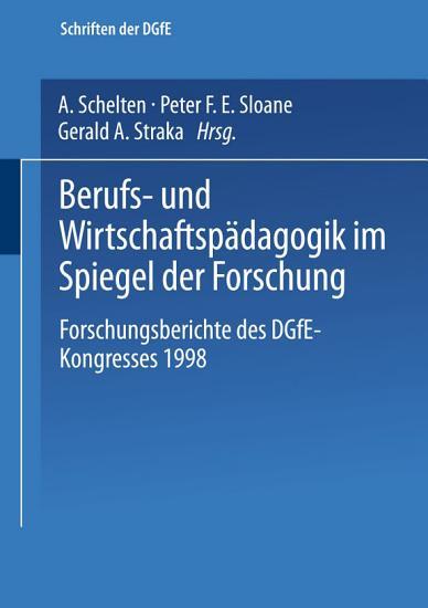 Berufs  und Wirtschaftsp  dagogik im Spiegel der Forschung PDF