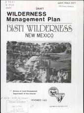 Wilderness management plan for the Bisti Wilderness Area PDF