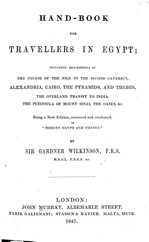 Hand book for Travellers in Egypt