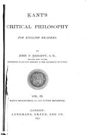Kant's Critical Philosophy for English Readers: Volume 3