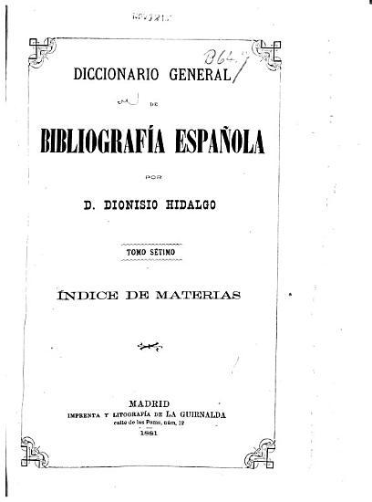 Diccionario general de bibliograf  a espa  ola    ndice de materias  1881 PDF