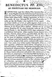 Benedictus PP. XIV. Ad perpetuam rei memoriam. Exponi nobis nuper fecit dilectus Filius Antoninus Bremond ...
