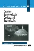 Quantum Semiconductor Devices and Technologies PDF
