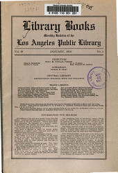 Library Books: Monthly Bulletin of the Los Angeles Public Library, Volume 10, Issue 1