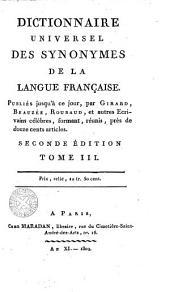 Dictionnaire Universel des Synonymes de la langue Française, 3: publies jusqu'a ce jour, Volume2