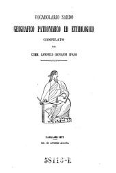 Vocabolario sardo geografico, patronimico ed etimologico